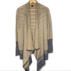 St. John Striped Wrap Open Cardigan